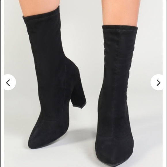 22b6713ad70 MONTREAL SOCK FIT ANKLE BOOTS IN BLACK FAUX SUEDE